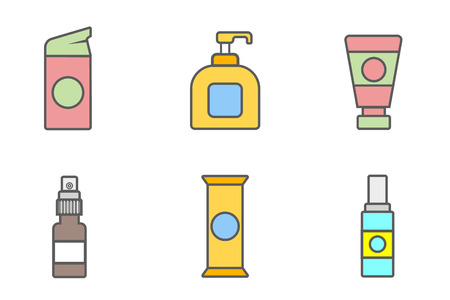 Women lubricating gel or Female lubricant icons set.