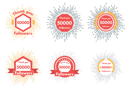 followers: Thank you followers icons or badge set