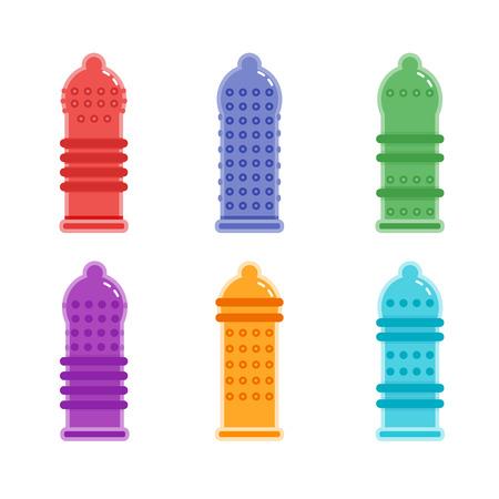 Condones con textura, tipos de condones Ilustración de vector