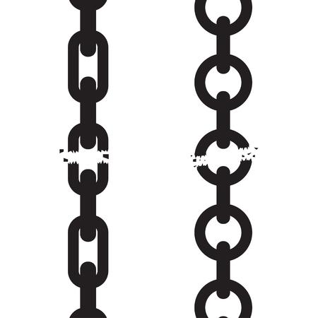 Broken, torn chain