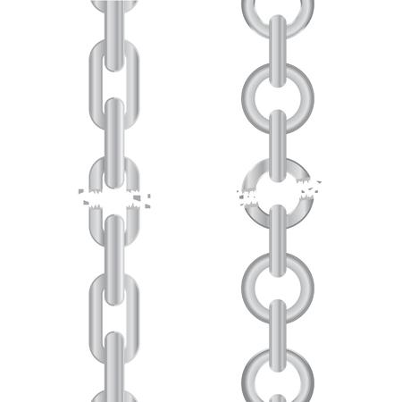 Broken, torn chain Illustration
