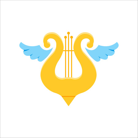 Music school logo. Lyre or cither icon. Illustration