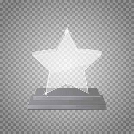 plate: Empty glass trophy awards on  transparent background Illustration