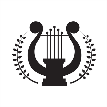 lyra: Music school logo. Lyre or cither icon. Illustration