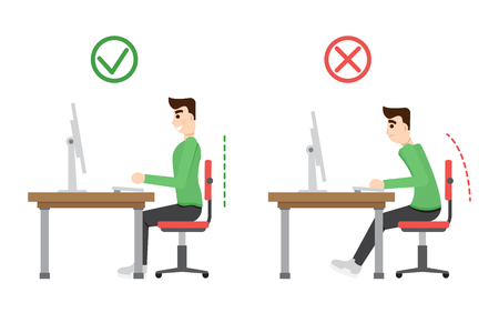 incorrect: Incorrect and correct  spine sitting posture. Office health infographic. Illustration