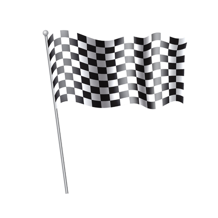 Rippled black and white crossed Checkered Flag