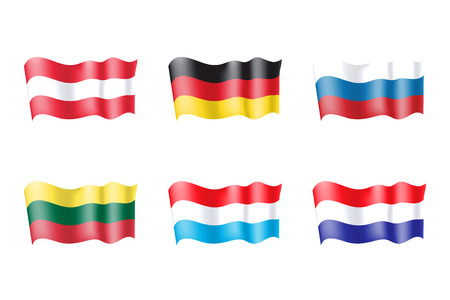 Luxembourg, Netherlands, Russia, Lithuania, Austria, Germany  flags set