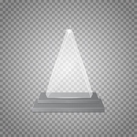 Empty glass trophy awards on transparent background Vektoros illusztráció