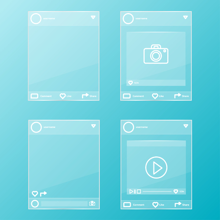 social network post glass frames set
