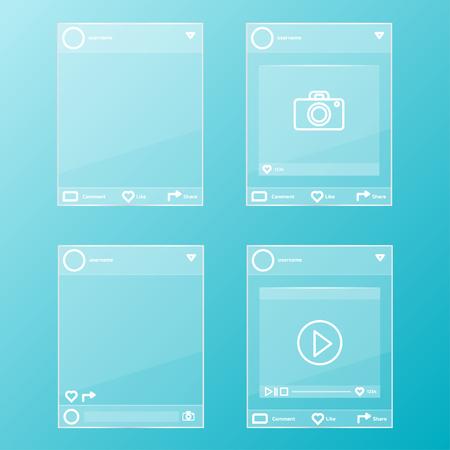 social network post glass frames set Stock Vector - 78487628