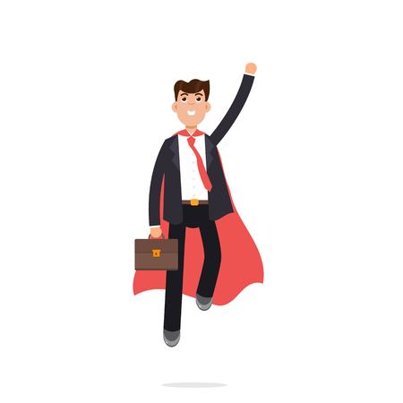 Superhero Businessman in red cloak. Vector character illustration in flat style. Illustration