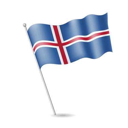 Flag of Iceland on the flagstaff. Vector illustration