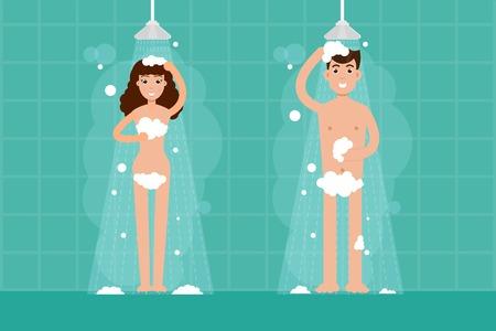Mann und Frau duschen im Badezimmer. Vektor Zeichen Illustration in flachen Stil.