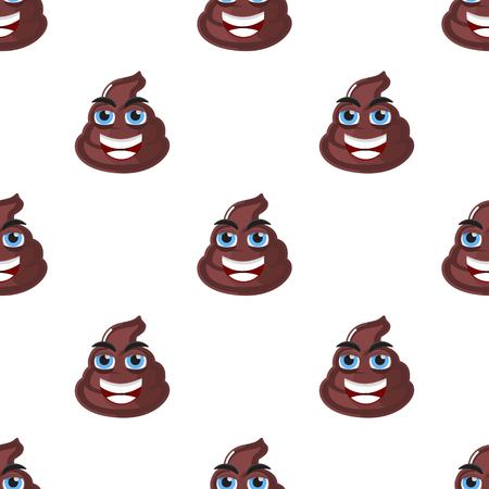 Poop, shit, turd character seamless pattern. Vector illustration