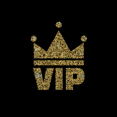 VIP club logo with gold glitter. Vector illustration