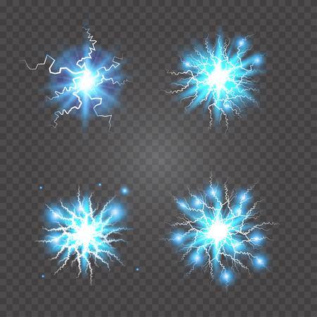 Ball lightning, plasma sphere, electric discharge set vector abstract illustration Illustration