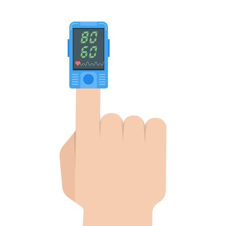 Icono del oxímetro de pulso. Medición de pulso, determinación de la frecuencia cardíaca. Ilustración del vector.