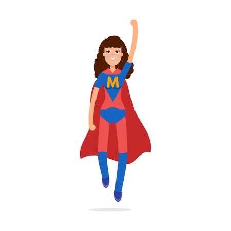 super woman: Mather superheroes. Super mom character. Vector illustration.