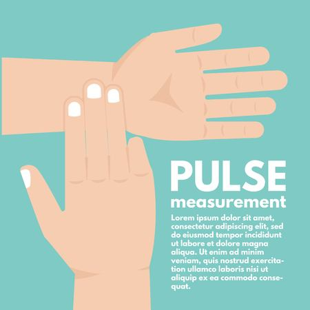Pulse measurement, determining heart rate. First Aid. Vector illustration Ilustração