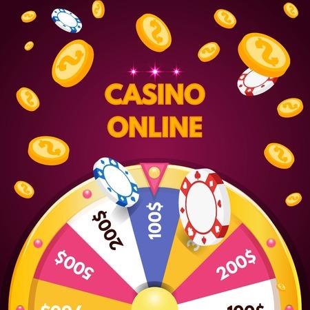Casino na internet. Spinning fortune wheel. Ilustração do vetor. Ilustración de vector