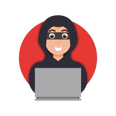ddos: Online money thief,  hacker in internet. Vector illustration. Illustration