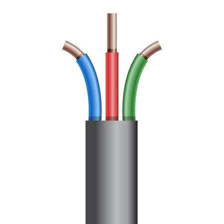 Copper Electric cable break. Vectro illustration. Illustration