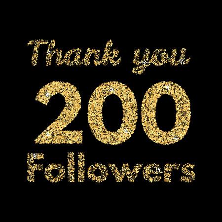 likes: Thank you 200 followers.Template for social media. Gold glitter lettering. Vector illustrtion. Illustration