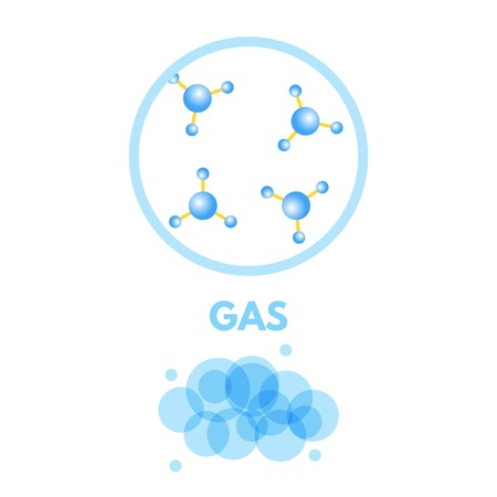 Matter in Different states. Gas. Vector illustration.