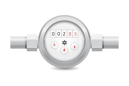 Realistic analog water meter vector illustration. Sanitary equipment