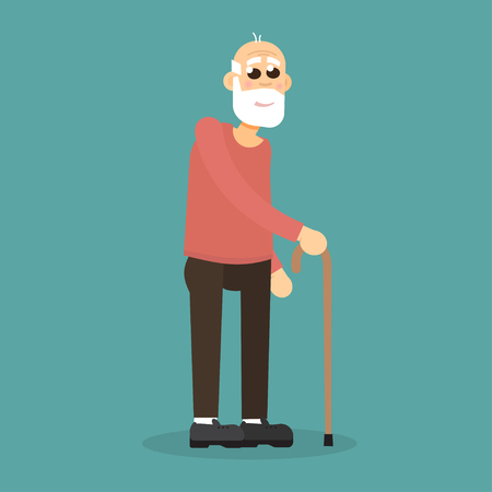 Gray-haired, bearded old man with walking cane. Vector character.
