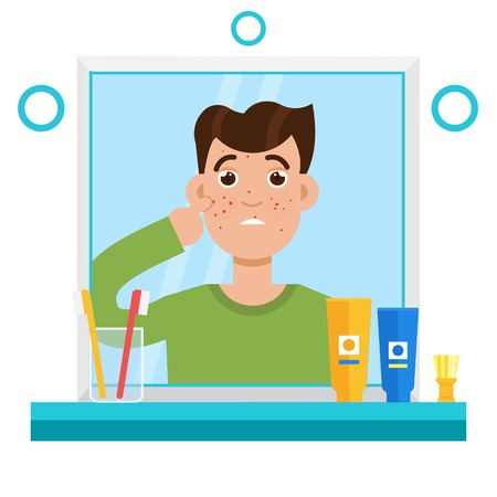 Acne mannen. Geschokte mannen in spiegelreflectie. Vector illustratie. Vector Illustratie