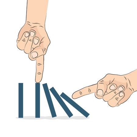 the collapsing: Domino effect. Hand pushing the domino. Vector illustration.