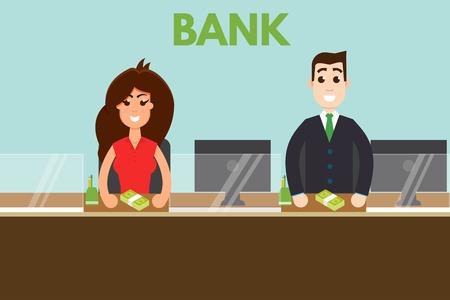 Bank teller or cashier behind window. Vector illustration.