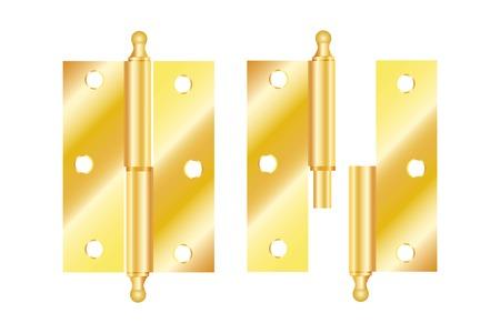 ferreteria: Iconos de acero inoxidable de bisagras realistas. Ilustración del vector.