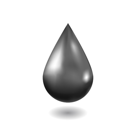 Realistic  black oil drop. Isolated on white background. Vector illustration. Ilustração