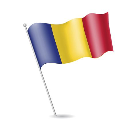Flag of Romania on the flagstaff. Vector illustration