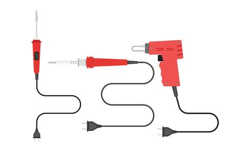 Soldering irons set. Vector illustration in flat style.