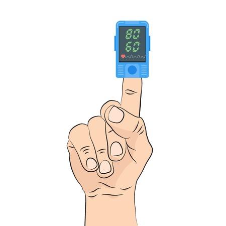 Ikona pulsoksymetru. Pomiar pulsu, określanie tętna. Ilustracji wektorowych.