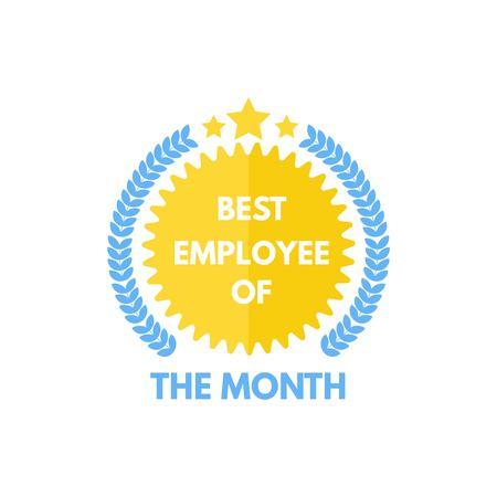 Employee of the month label. Vector illustration.