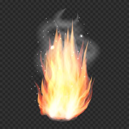 Transparent realistic fire flame, bonfire