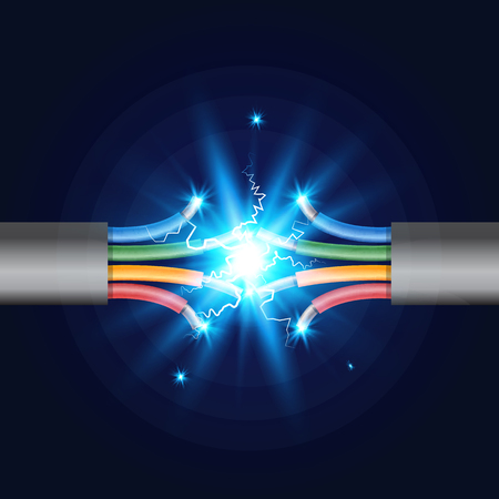 Four-core Electric cable break with electric spark. Vector illustration.