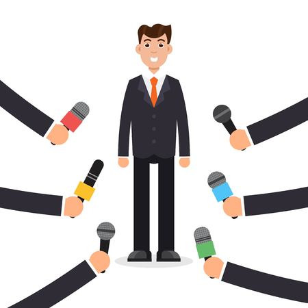 Interview or press conference a businessman. Journalism, breaking news, mass media concept. Vector illustration in flat style. Illustration