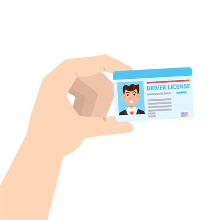 Hand holding Car driver license or id cadr. Vector illustration