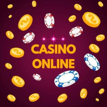 Lettring de casino en Internet con fichas y monedas. Ilustración vectorial Ilustración de vector