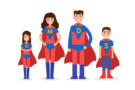 Family of superheroes. Mom, son, daughter, dad together. Vector illustration. Stock Vector - 83824525