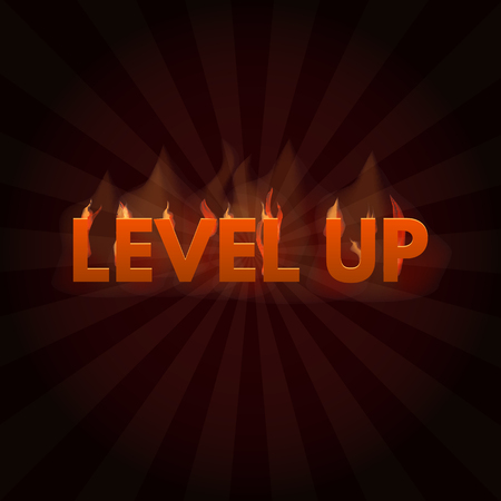 Level up Game bonus lettering in fire. Vector illustration.