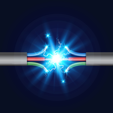 Rupture de câble électrique à trois fils avec étincelle électrique. Illustration vectorielle