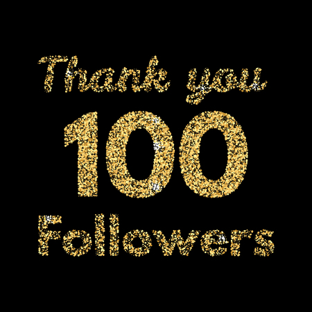 Thank you 100 followers.Template for social media. Gold glitter lettering. Vector illustrtion. Çizim