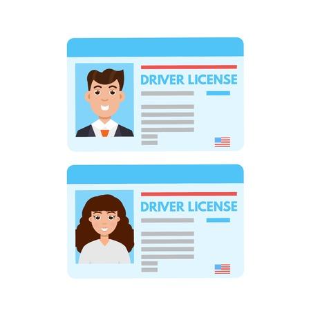 Autobestuurder licentie of id cadr. Vector illustratie Stock Illustratie
