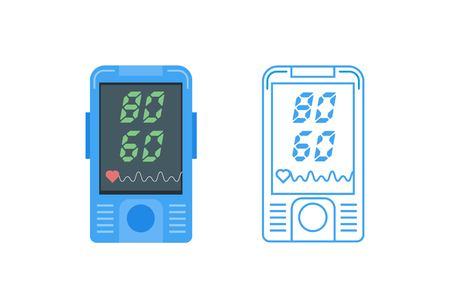 Pulse oximeter icon. Pulse measurement, determining heart rate. Vector illustration. Illustration